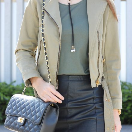 leather skirt and green basic shirt