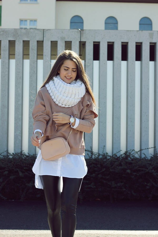 pink sweater & blouse with leatherleggins