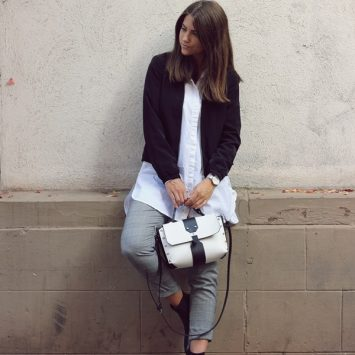 grey glencheck pants and white blouse with black jacket