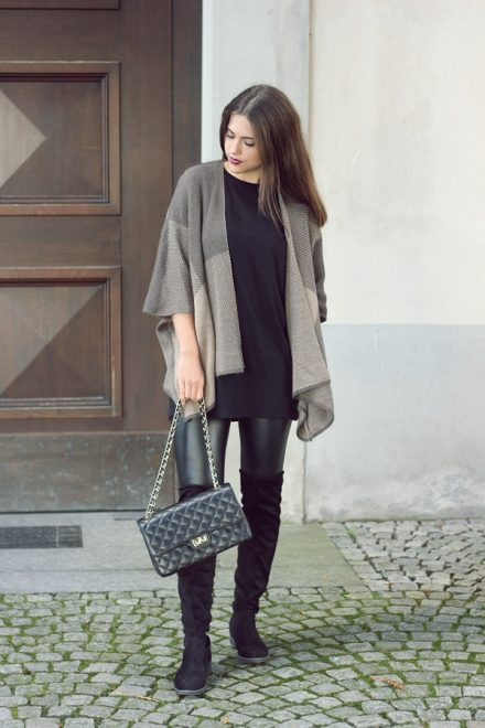 leatherleggings with black overknees and brown poncho